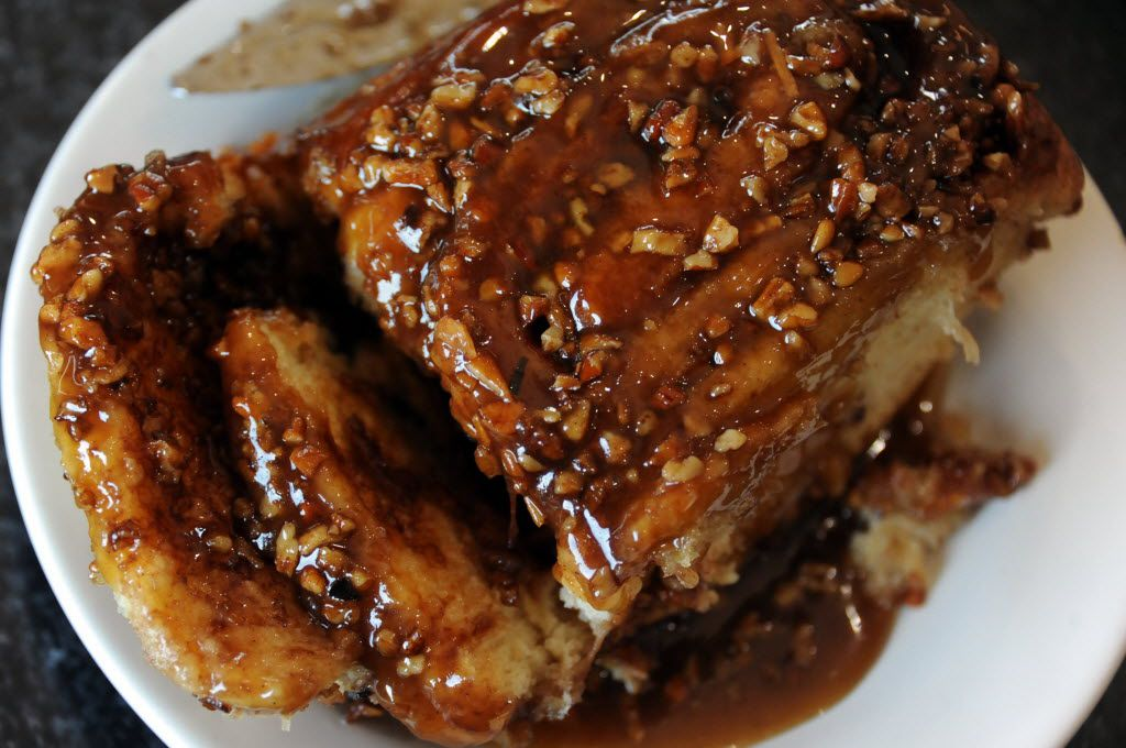Crossroads Diner's famous cinnamon sticky buns are topped with pecans.