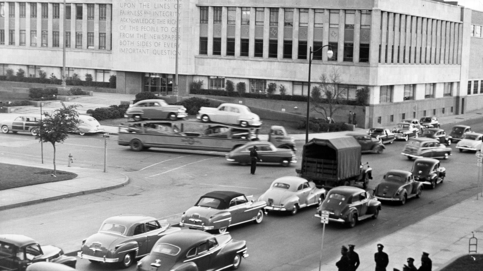 In the 1940s the area around the former Dallas Morning News building at Young Street and Houston streets was one of the busiest areas of downtown..
