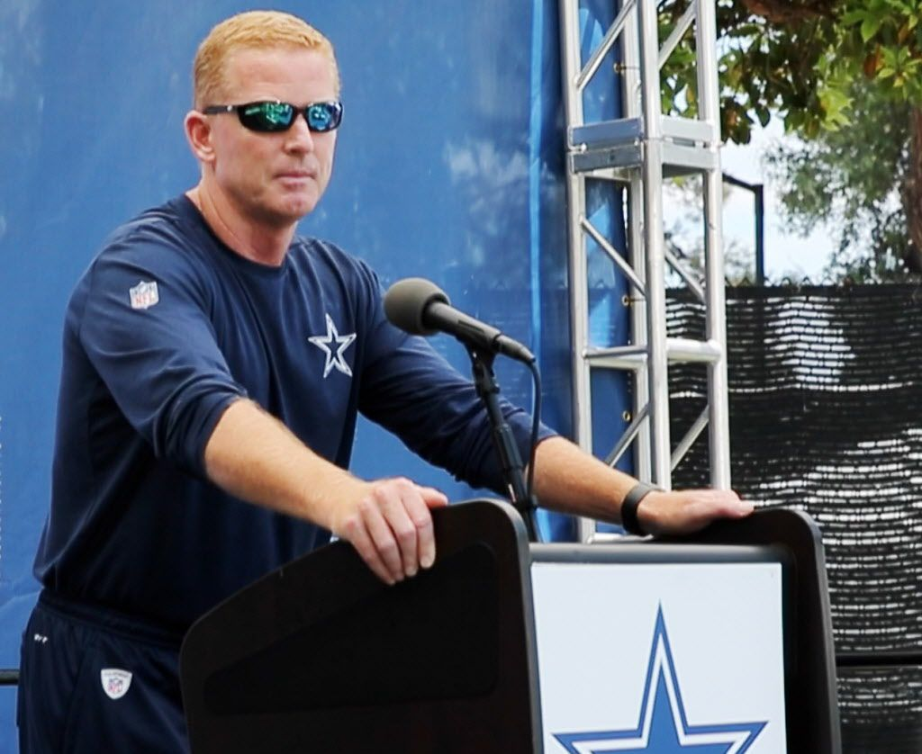 Dallas Cowboys head coach Jason Garrett at the podium during his press conference a day after the Cowboys released Dallas Cowboys wide receiver Lucky Whitehead (13) at training camp in Oxnard, California on Tuesday, July 25, 2017. (Vernon Bryant/The Dallas Morning News)