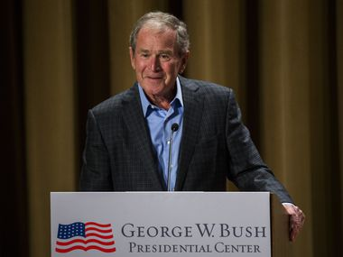 "Former President George W. Bush said he and his wife, Laura, are taking care during the coronavirus outbreak by ""handwashing and social distancing to the max."" (Ashley Landis/The Dallas Morning News)"