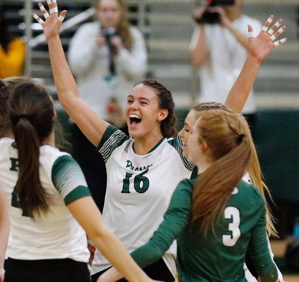 Prosper High School setter Madi Whitmire (16) celebrates a point during game three as Prosper High School hosted Plano Senior High School in a 9-6A volleyball match in Prosper on Tuesday night, October 23, 2018.  (Stewart F. House/Special Contributor)