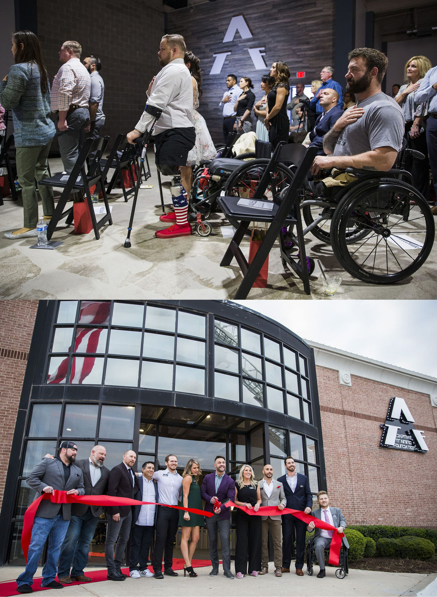 (Above) Athletes place their hands over their hearts as the national anthem played during the opening of the Adaptive Training Foundation on April 7, 2018 in Carrollton. (Below) Founder and owner David Vobora, center, cuts the ribbon, flanked by his wife, Sarah, (center right), and executive director Kat Watson Rehwinkel (center left), who supplied the clean diaper for his face after he was bitten by a dog.