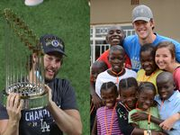 Left: Dodgers pitcher Clayton Kershaw celebrates with the Commissioners Trophy after LA defeated the Tampa Bay Rays (Photo by Maxx Wolfson/Getty Images). Right: Kershaw and his wife, Ellen, pose for a photo with a group of children in Zambia. (Courtesy of Kershaw's Challenge)
