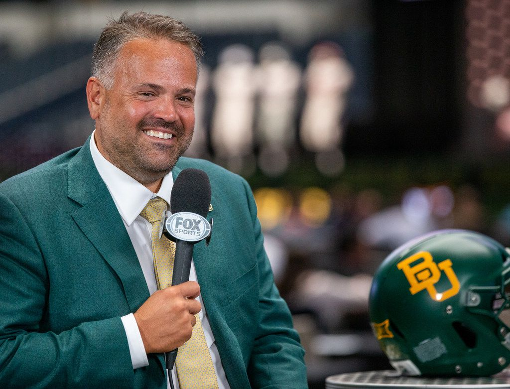 Baylor University head football coach Matt Rhule speaks with Fox Sports during the Big 12 Conference Media Days event at the AT&T Stadium in Arlington, Texas, Tuesday, July 16, 2019. (Lynda M. Gonzalez/The Dallas Morning News)