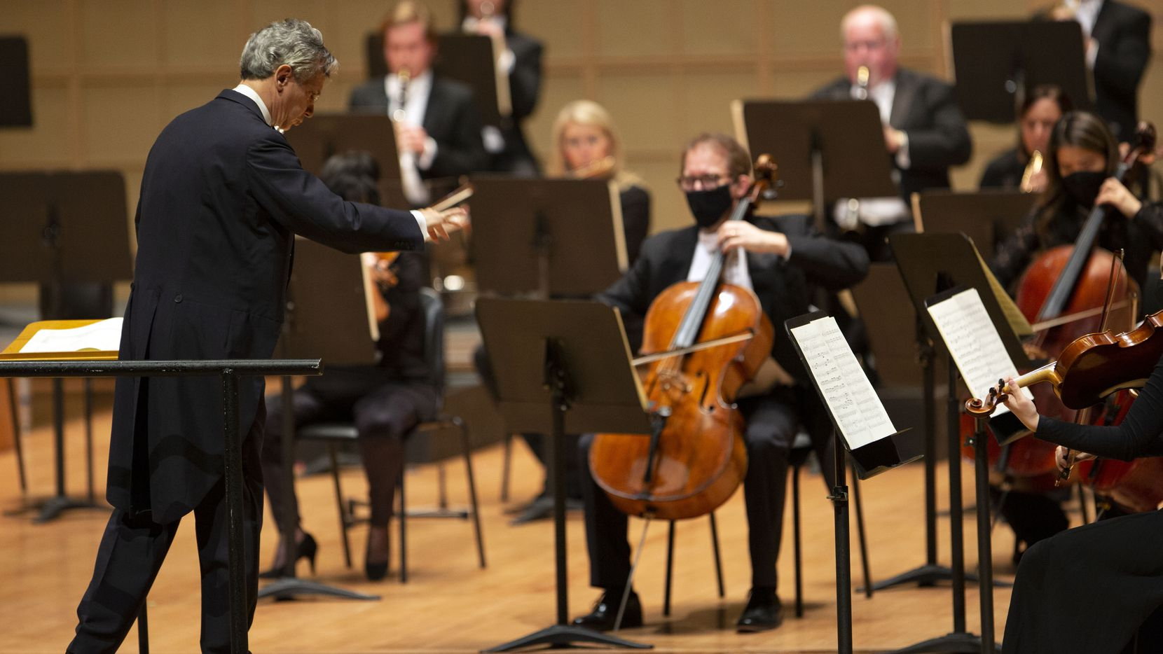 Music director Fabio Luisi conducts the Dallas Symphony Orchestra at the Meyerson Symphony Center in Dallas on Feb. 4, 2021.