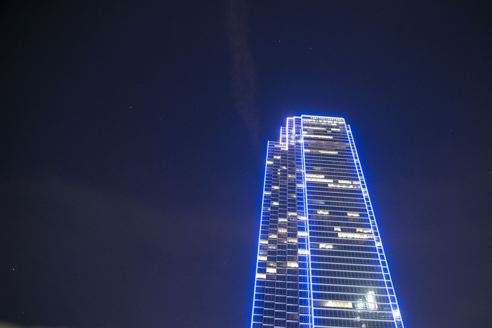 Bank of America Plaza got new exterior lights in 2013.