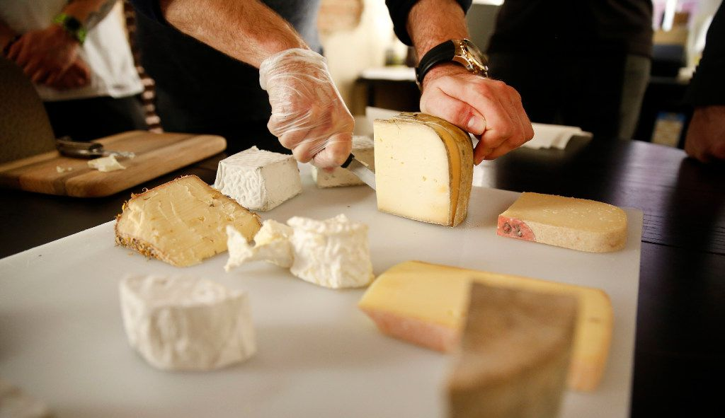 Regalis TX hosted a cheese tasting for a group from the Adolphus Hotel, including new chef Michael Ehlert, Wednesday, February 1, 2017.  The Adolphus contingent is shopping for foods and services for The French Room which is being renovated along with the hotel in downtown Dallas.