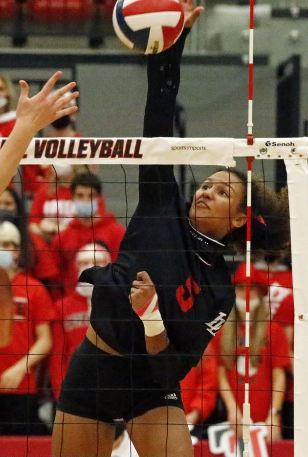 Lovejoy High School outside hitter Cecily Bramschreiber (5) gets a hit during game one as Grapevine High School played Lovejoy High School at Coppell High School in a Class 5A state semifinal match in Coppell on Monday, December 7, 2020.  (Stewart F. House/Special Contributor)