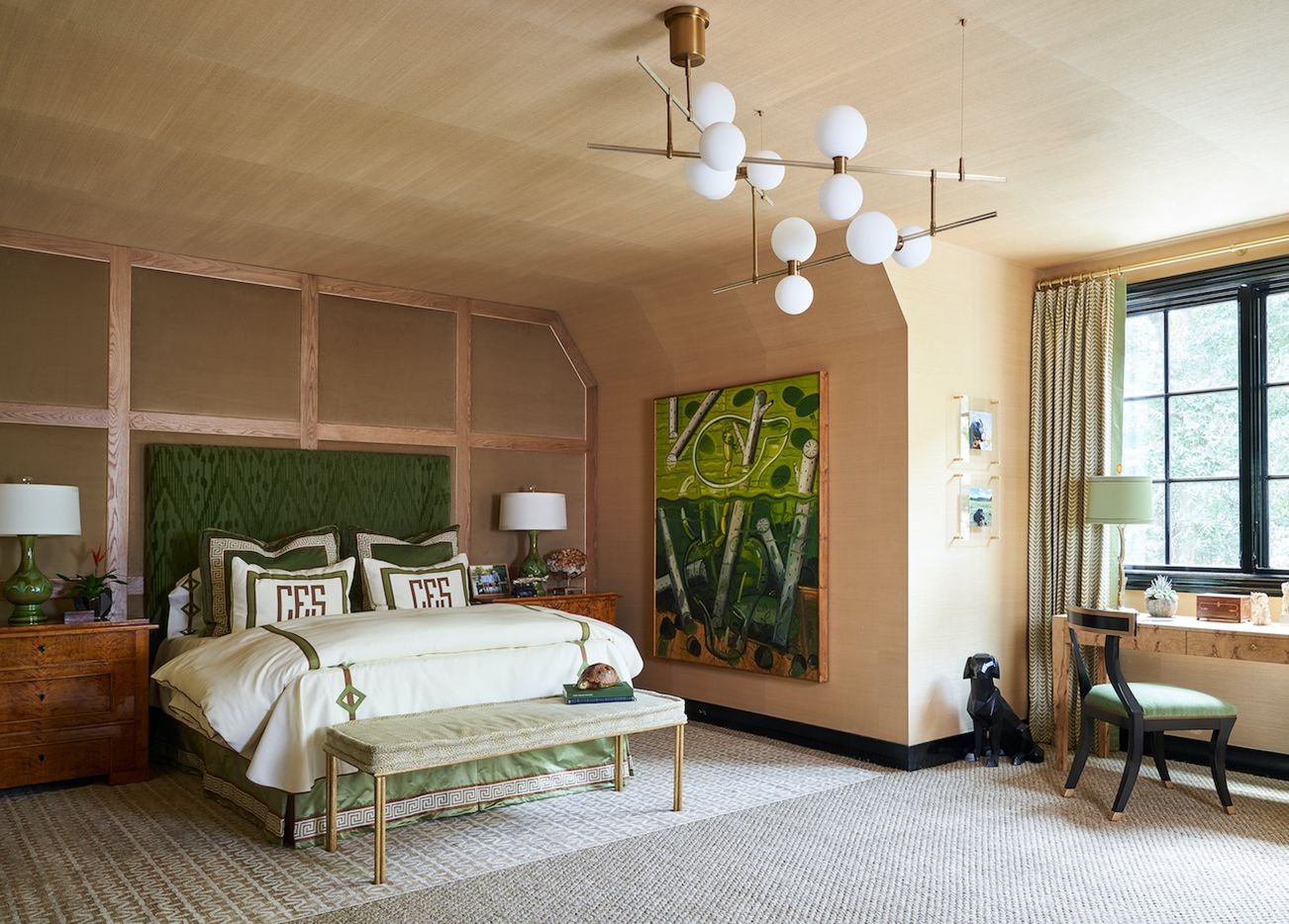 The son's bedroom at the Kips Bay Decorator Show House Dallas. This room was designed by Trish Sheats Interior Design.