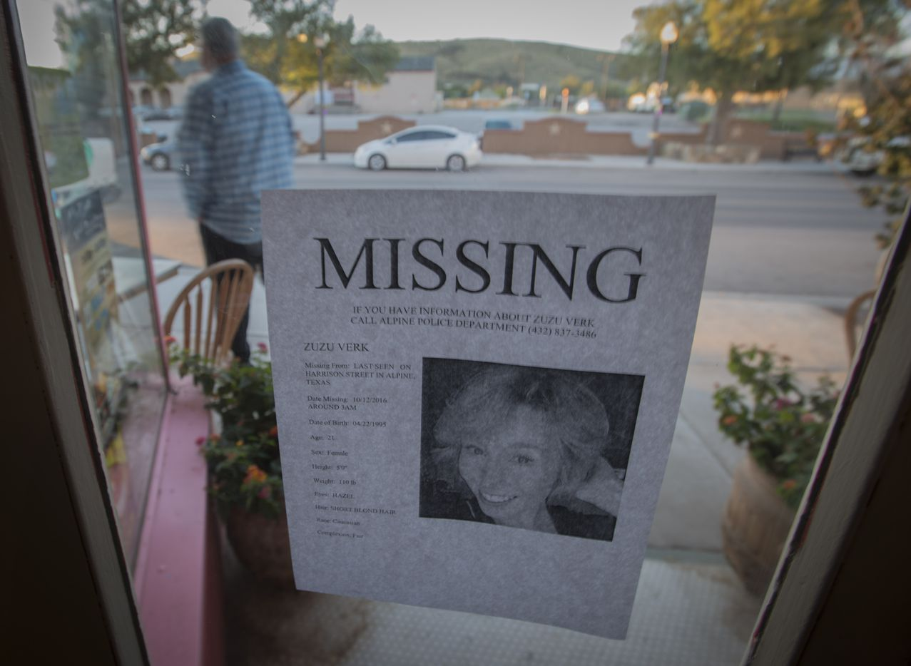 A leaflet taped to the window of this business in Alpine gives a full description of Zuzu Verk, a Sul Ross University junior who was last seen Oct. 12. (Robert W. Hart/Special Contributor)