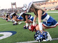 Maleah Front, sophomore, performs with the Allen Talonettes in the first half of a high school football game between Cedar Hill and Allen, Friday, Sept. 10, 2021, in Allen, Texas. (Matt Strasen/Special Contributor)