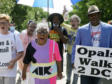 Ninety-three year old activist Opal Lee marches in 2020 as part of her campaign to make Juneteenth a national holiday.