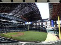 A look inside Globe Life Field as the park prepares to host high school graduations while the MLB season remains suspended due to the coronavirus pandemic.