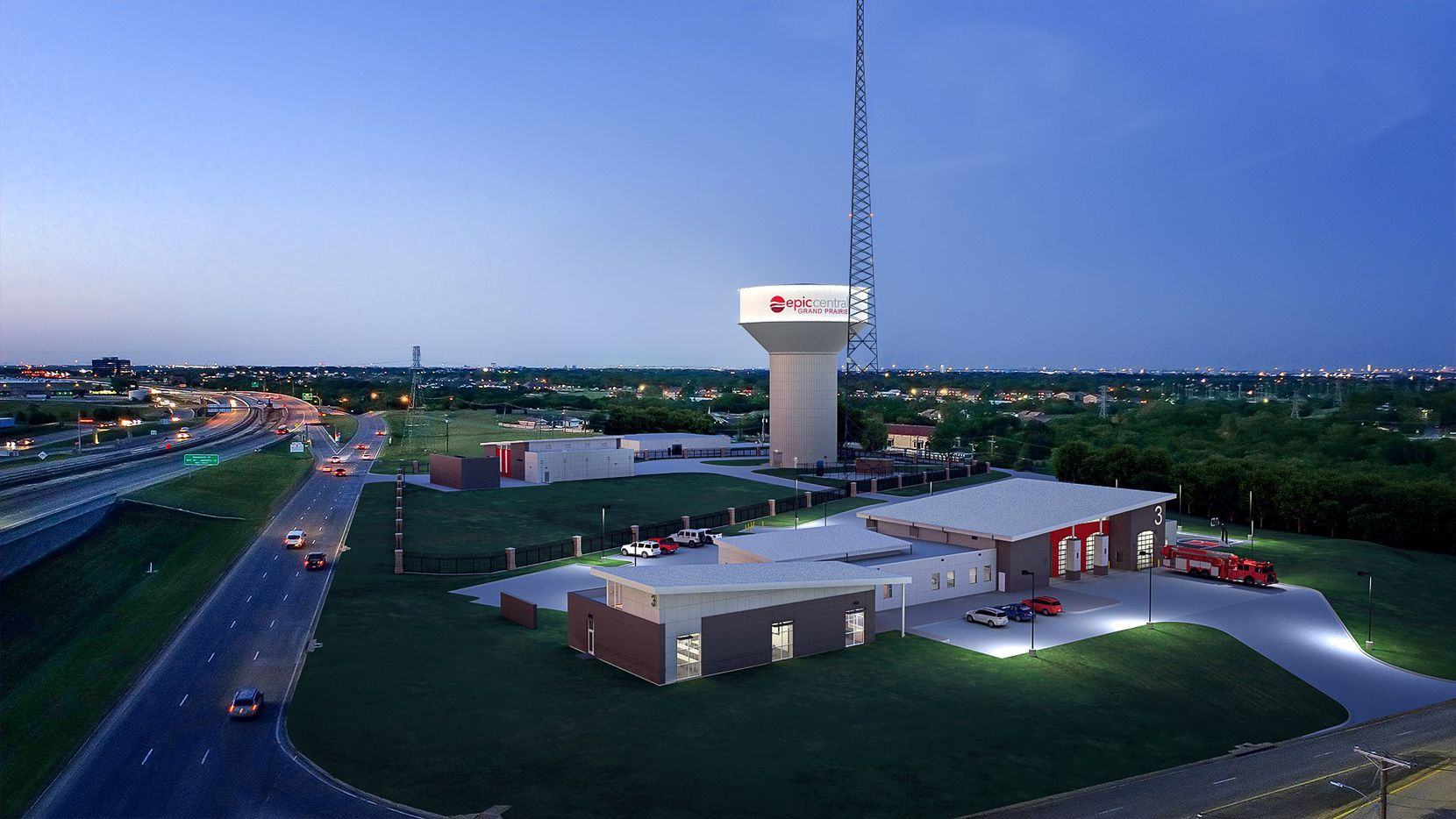Renderings show the new fire station going up near Grand Prairie's Epic Waters waterpark.