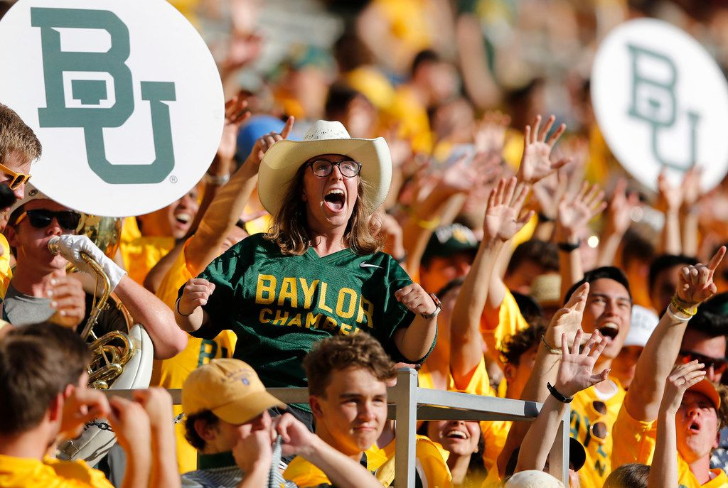 Baylor Bears fans cheer for their team as they play against Iowa State Cyclones during the second half of play at McLane Stadium in Waco, Texas on Saturday, September 28, 2019. Baylor Bears defeated Iowa State Cyclones 23-21. (Vernon Bryant/The Dallas Morning News)
