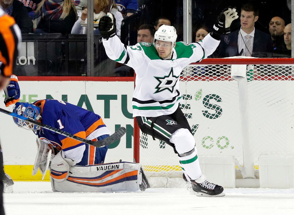Dallas Stars' Valeri Nichushkin (43) celebrates a goal by teammate Roope Hintz as New York Islanders goaltender Robin Lehner reacts during the second period of an NHL hockey game Sunday, Nov. 18, 2018, in New York. (AP Photo/Frank Franklin II)