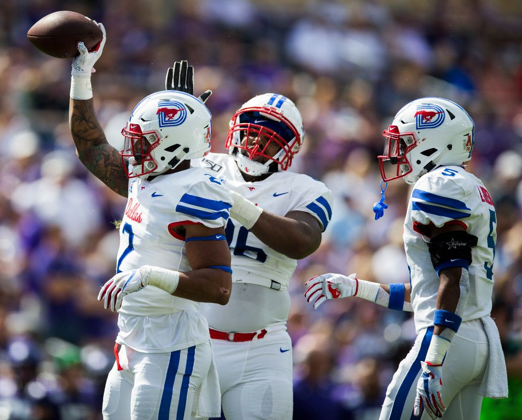Southern Methodist Mustangs running back Ke'Mon Freeman (2) celebrates a turnover during the first quarter of a college football game between SMU and TCU on Saturday, September 21, 2019 at Amon G. Carter Stadium in Fort Worth.