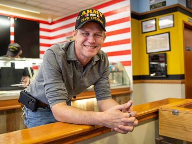 David Jordan, shop owner and previously homeless veteran, poses for a portrait at Patriot Sandwich Company on Feb. 18, 2019 in Denton, Texas. Jordan aims to not only educate his customers about the traditions of the armed forces but honor veterans themselves. (Kara Dry/Special Contributor)