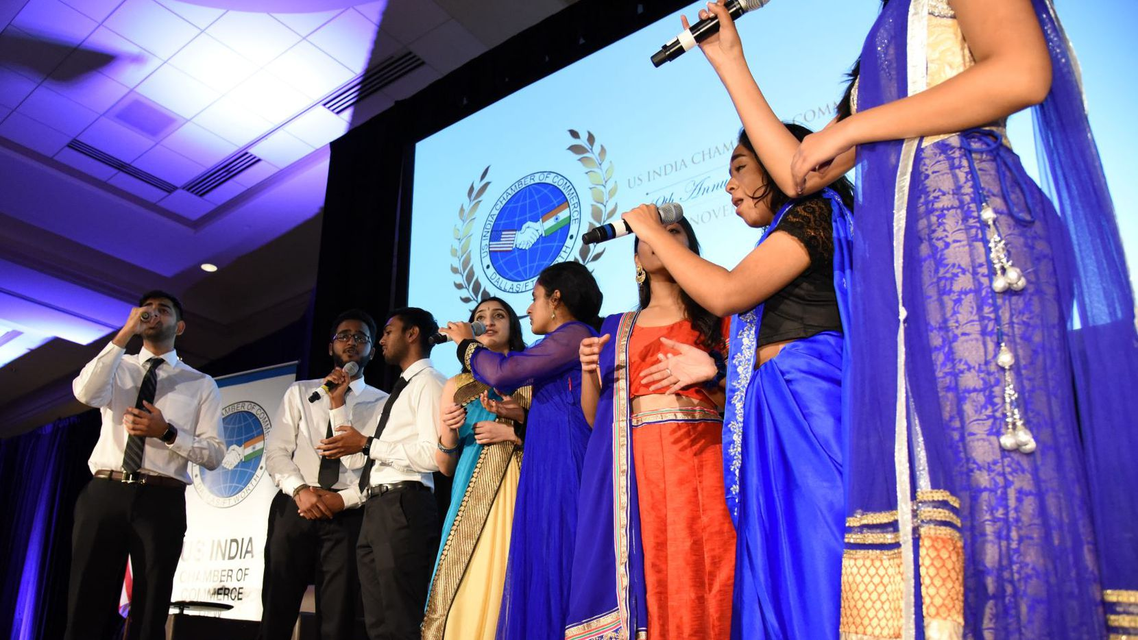 The South Asian A Capella Ensemble Ensemble from the University of Texas at Dallas sang the U.S. and Indian national anthems at the U.S. India Chamber's 19th annual awards banquet in Plano.