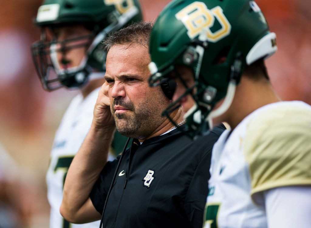 FILE - Baylor Bears head coach Matt Rhule watches from the sidelines during the first quarter of a college football game between Baylor and the University of Texas on Saturday, October 13, 2018 at Darrell K Royal Memorial Stadium in Austin, Texas.  (Ashley Landis/The Dallas Morning News)