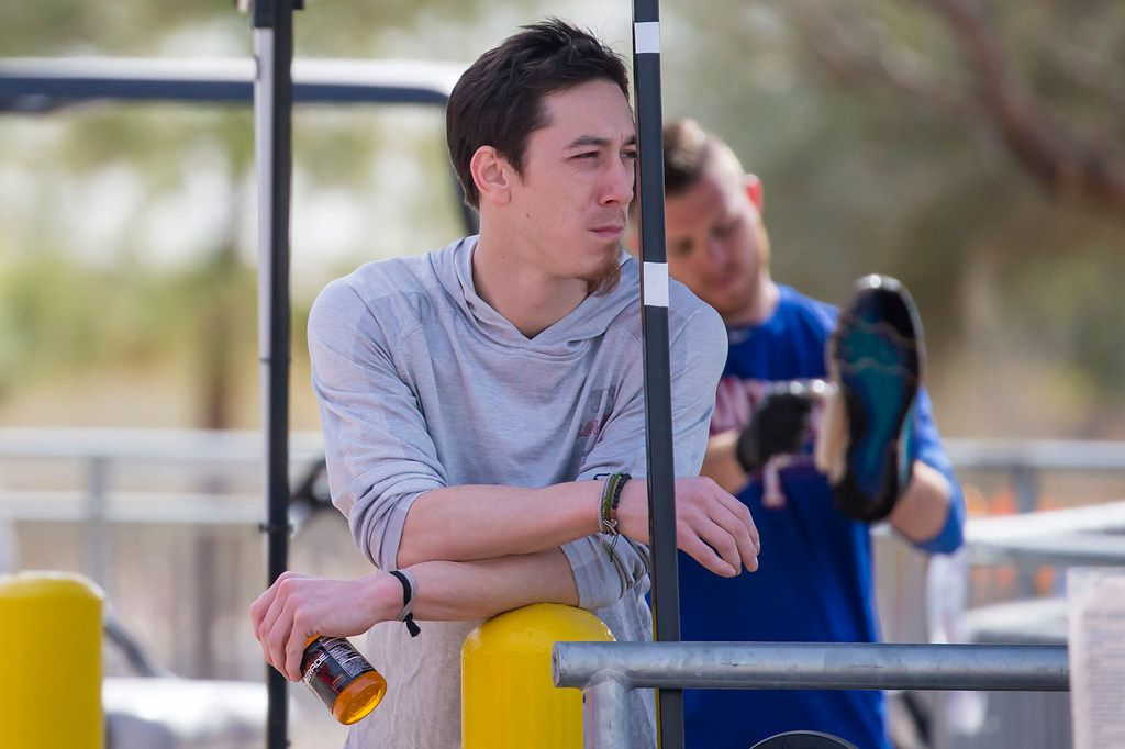 Pitcher Tim Lincecum takes in his new surroundings after arriving at the Texas Rangers spring training facility on Tuesday, March 6, 2018, in Surprise, Ariz. (Smiley N. Pool/The Dallas Morning News)