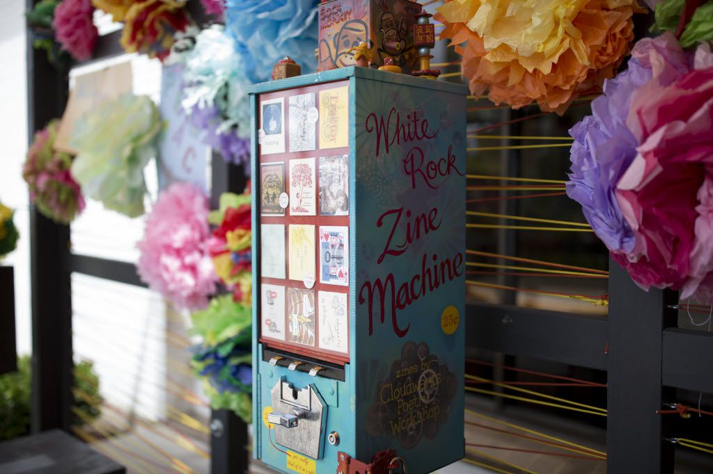 The White Rock Zine machine was on display during Make Art with Purpose at Dallas West Branch Library on Aug. 14. (Ting Shen/The Dallas Morning News)