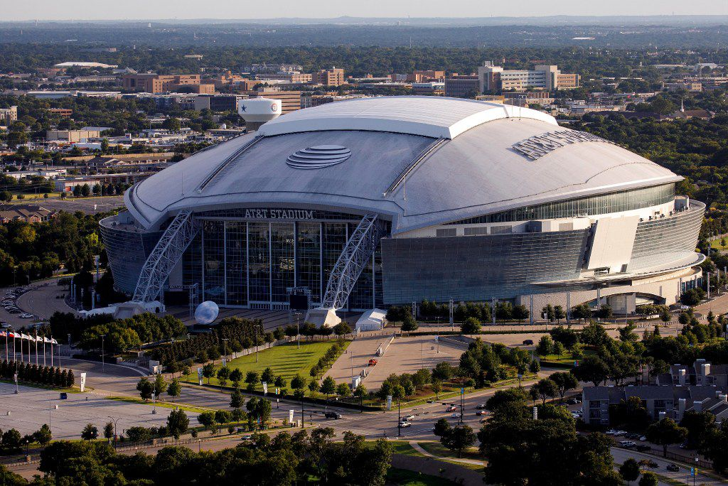 AT&T Stadium is seen in an aerial view on Thursday, July 27, 2017, in Arlington, Texas.