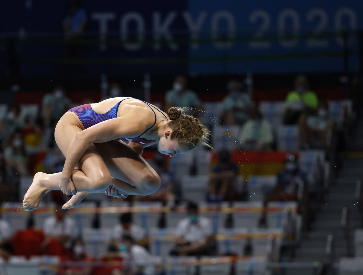 USA's Hailey Hernandez competes in the women's 3 meter springboard preliminary competition during the postponed 2020 Tokyo Olympics at Tokyo Aquatics Centre, on Friday, July 30, 2021, in Tokyo, Japan. Hernandez scored a total of 309.55 points to qualify for the next round. (Vernon Bryant/The Dallas Morning News)