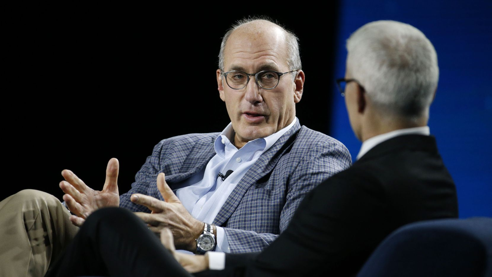 John Stankey is interviewed by Anderson Cooper during the AT&T Business Summit at Gaylord Texan Resort & Convention Center in Grapevine, Texas on Sept. 27, 2018.