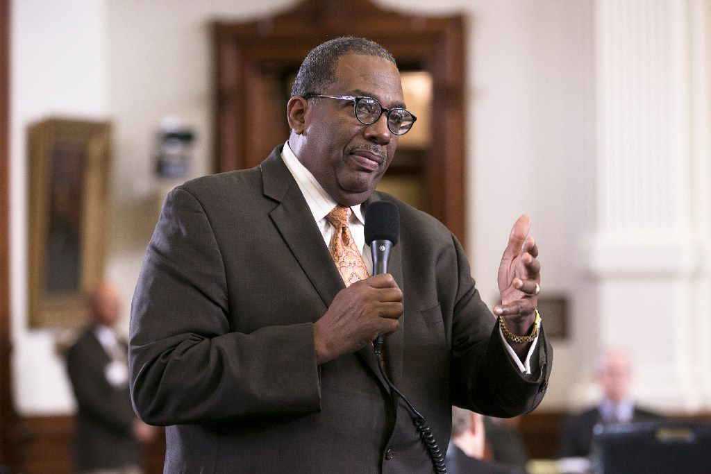 Sen. Royce West, D-Dallas, talks during discussion on the state budget as the Senate takes up the bill in chambers on Tuesday