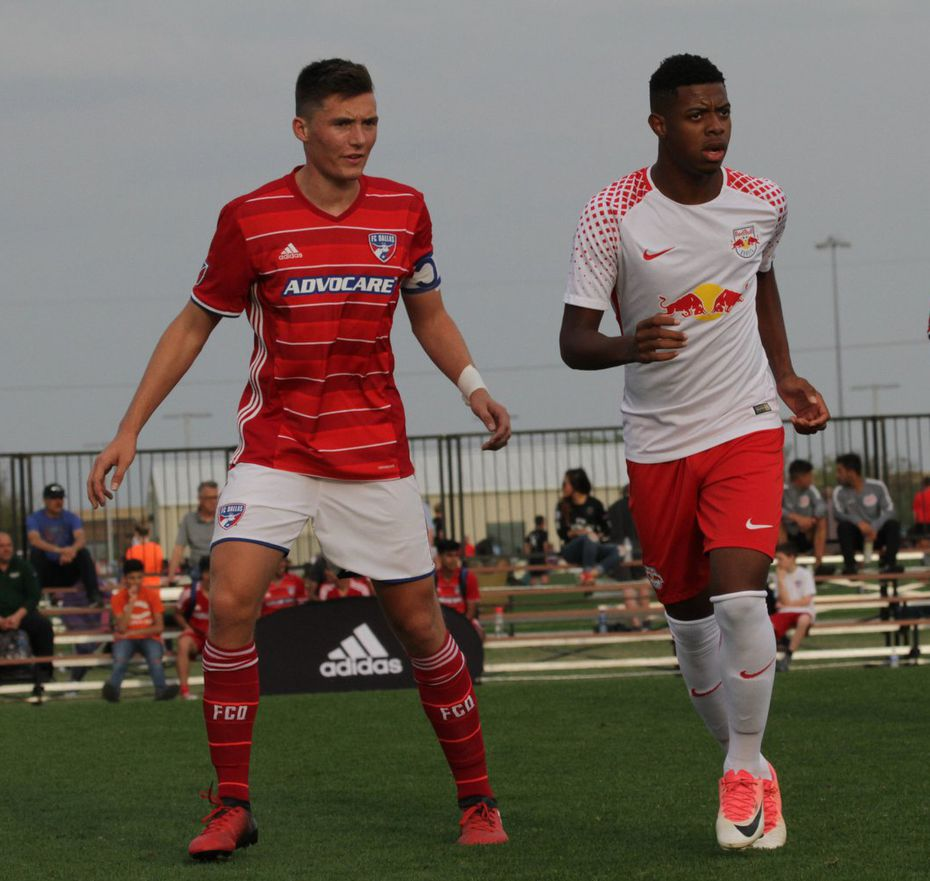 Brecc Evans (left) plays in the Dallas Cup for FC Dallas against Red Bull Brasil.