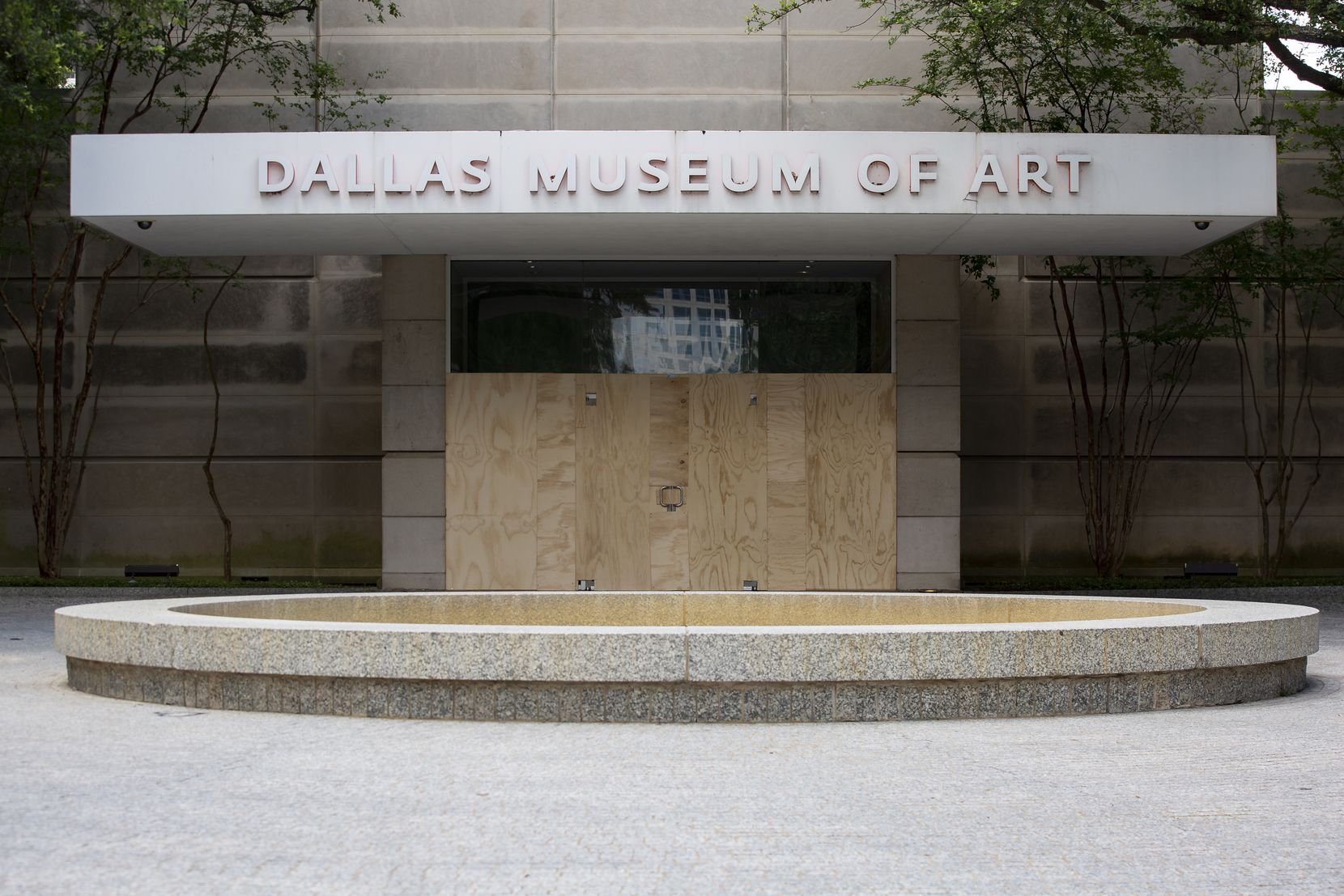 The Dallas Museum of Art is boarded up on Sunday morning, May 31.