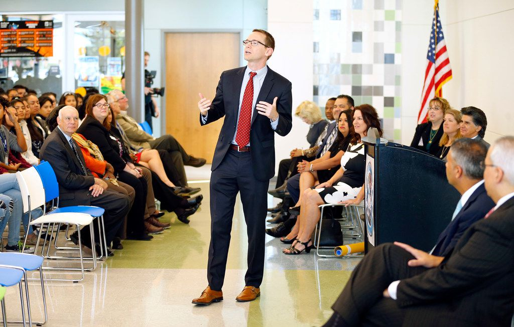 Texas Commissioner of Education Mike Morath speaks last fall at Arlington Collegiate High School. On April 10, he said recent results on the National Assessment of Educational Progress show Texas is lagging, especially in reading but also in overall averages.