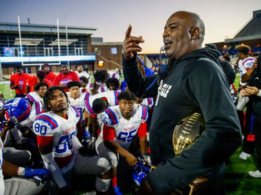 Duncanville Panthers head coach Reginald Samples speaks to his team after a win over Rockwall in the Class 6A Division I state semifinal football matchup on Saturday, Dec. 14, 2019 at McKinney ISD Stadium in McKinney, Texas. (Ryan Michalesko/The Dallas Morning News)