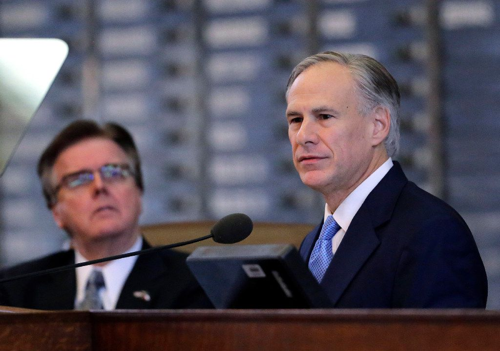 Lt. Gov. Dan Patrick (left) says he has no interest in challenging Gov. Greg Abbott. (File/The Associated Press)