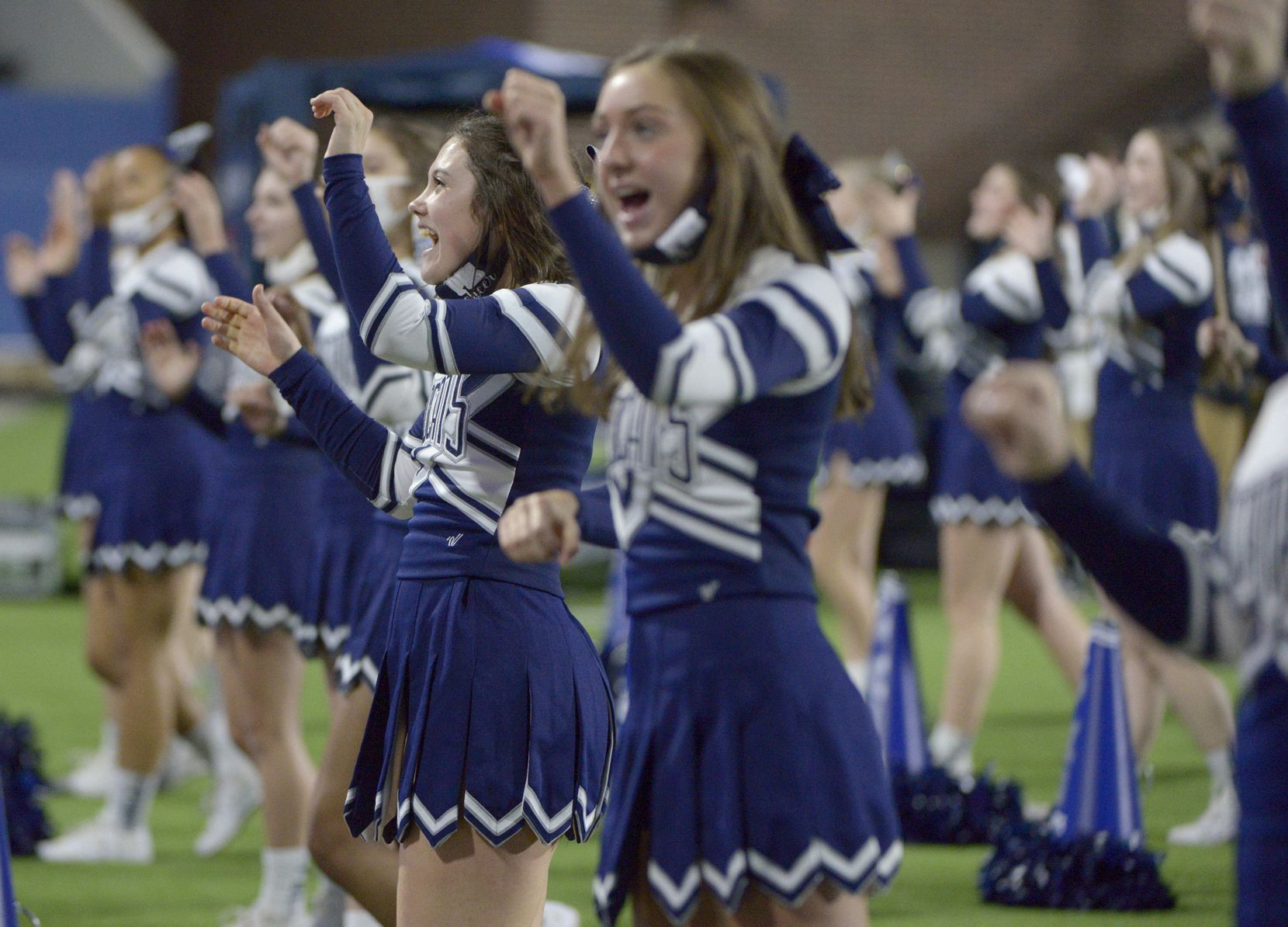 Paris cheerleaders in the first half during a Class 4A Division I Region II final playoff football game between Paris and Argyle, Saturday, Dec. 5, 2020, in McKinney,  Texas. (Matt Strasen/Special Contributor)