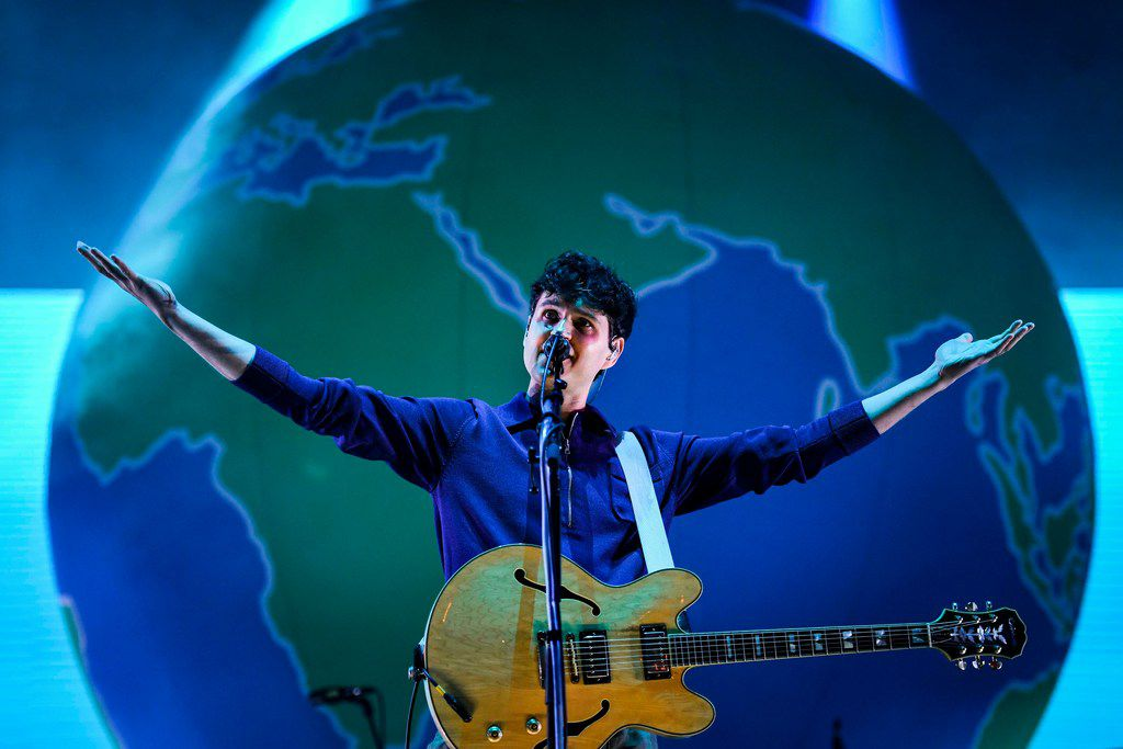 Ezra Koenig of US band Vampire Weekend performs on the second day of the 2019 Alive Festival in Oeiras in the outskirts of Lisbon on July 12, 2019.