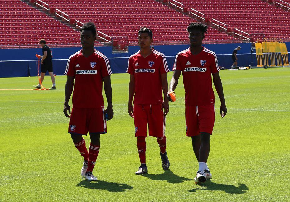 FCD Academy U19s (left to right) Ronaldo Damus, Gibran Rayo, and Emmanuel Paga. (5-10-18)