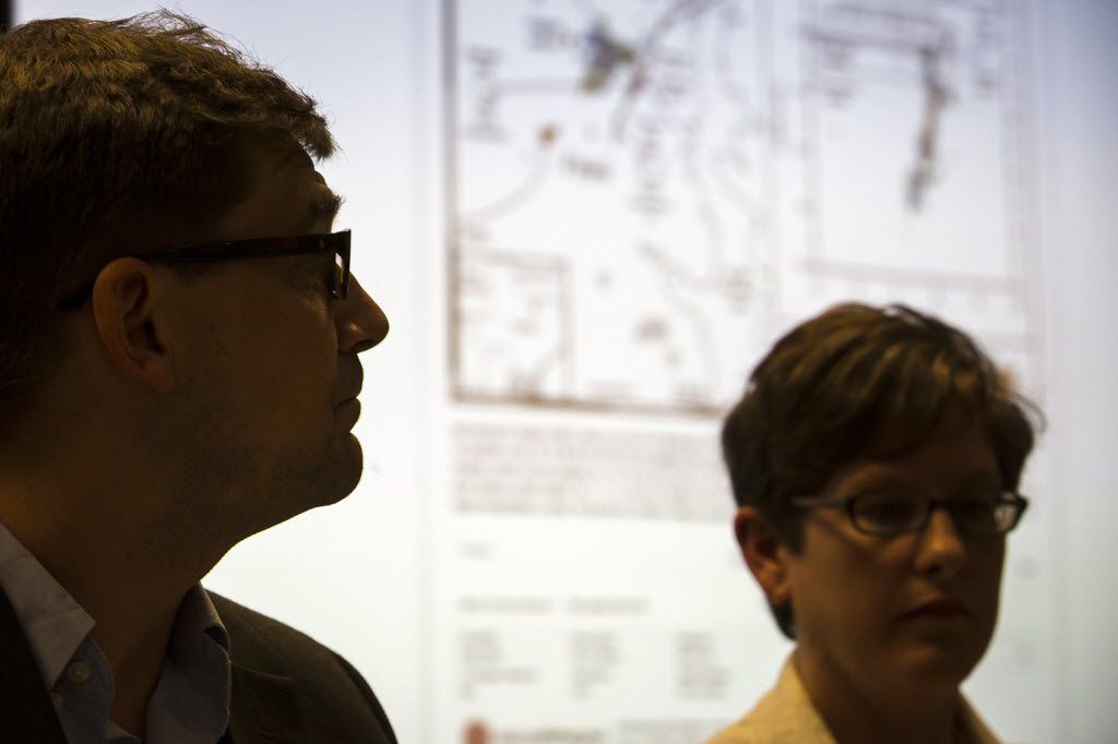 SMU researchers Matthew Hornbach (left) and  Heather DeShon, both associate professors of geophysics, discussed oil and gas drilling's effect on North Texas earthquakes during a news conference at the university in 2015.