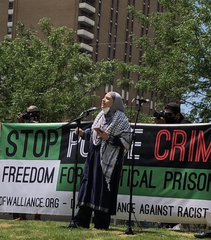 Fadya Risheq speaks at a rally against police brutality on June 6. Risheq, who grew up in Jerusalem, is the president of the Dallas chapter of American Muslims for Palestine.