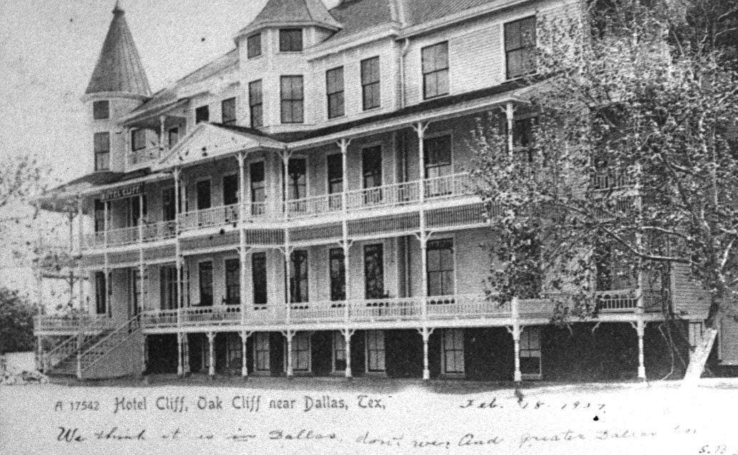The Hotel Cliff in Oak Cliff is seen in this postcard ca. 1907.