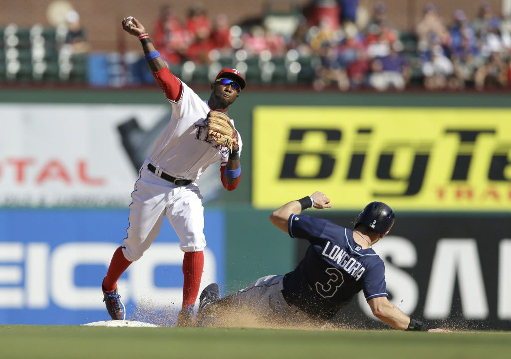 Tampa Bay Rays Evan Longoria (3) slides into second base breaking up the double play against Texas Rangers second baseman Jurickson Profar (19) during a baseball game in Arlington, Texas, Sunday, Oct. 2, 2016. (AP Photo/LM Otero)