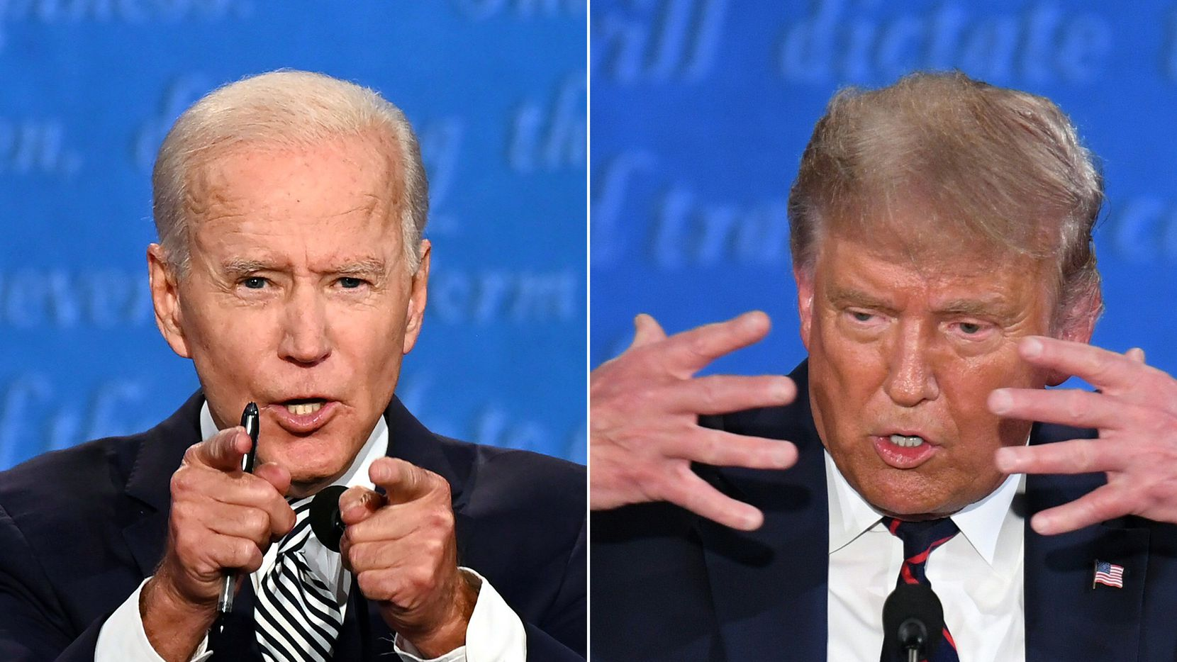 Fotocomposición con imágenes del exvicepresidente Joe Biden (Izq.) y el presidente Donald Trump durante el debate 29 de septiembre de 2020.