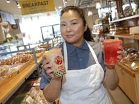 Grace Koo poses for a photograph at 9 Rabbits Bakery and Boba Tea House in Dallas