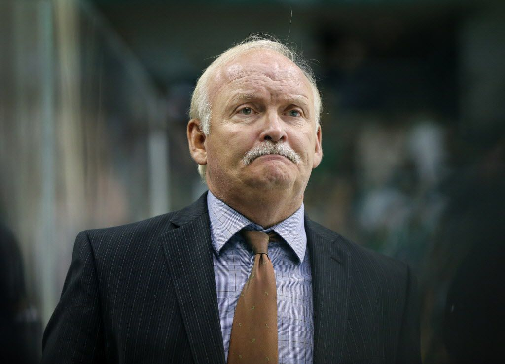 Dallas Stars head coach Lindy Ruff is pictured on the bench against Florida Panthers in the second period at the American Airlines Center in Dallas, Tuesday, October 4, 2016.