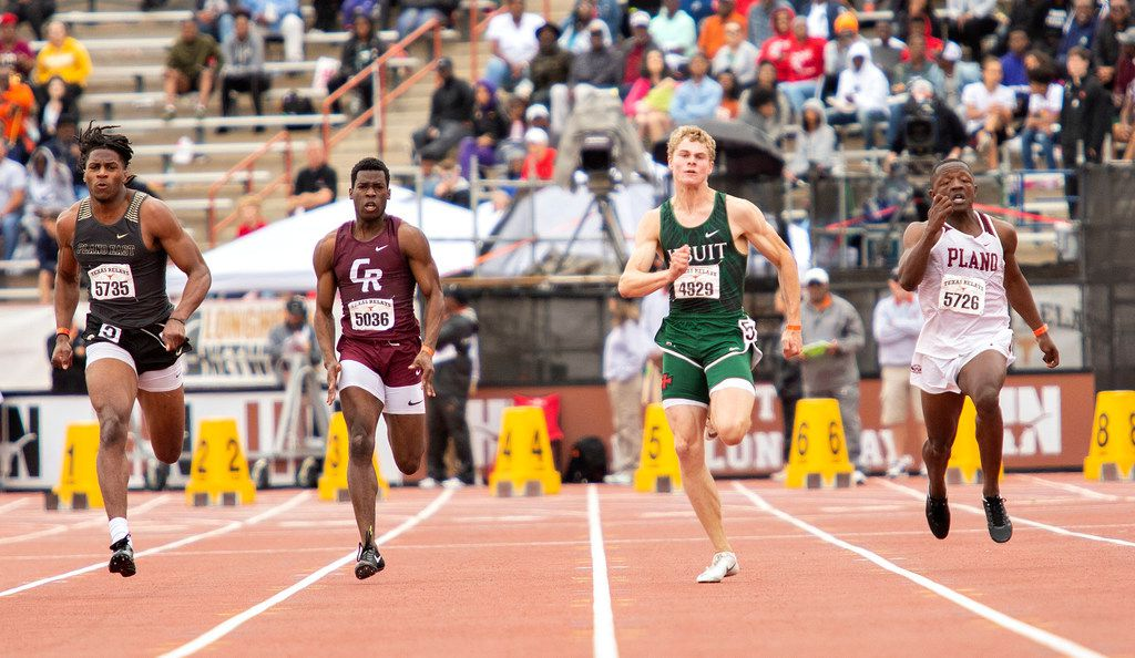 Plano East's Tyler Owens (5735), Katy Cinco Ranch's Moyo Oyebamiji (5036), Houston Strake Jesuit's Matthew Boling (4929), and Plano's Kyron CumbyÊ(5726) competed during the boys 100 meter dash Division II finals during the Texas Relays track meet at the Mike A. Myers Stadium, at the University of Texas on March 30, 2019 in Austin, Texas. Boling was the winner.  (Thao Nguyen/Special Contributor)