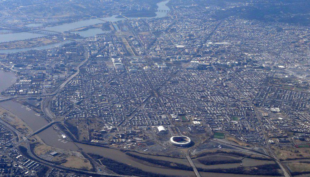 Aerial view of Washington, D.C., on February 15, 2018.                         / AFP PHOTO / Daniel SLIMDANIEL SLIM/AFP/Getty Images