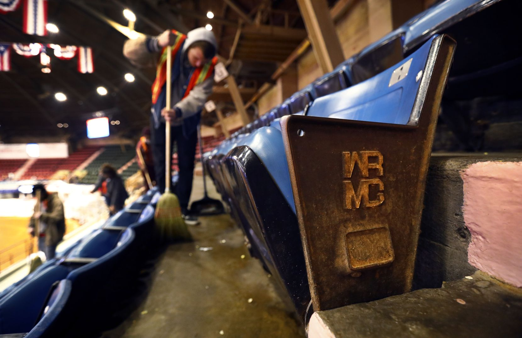 The WRMC (Will Rogers Memorial Coliseum) logo aisle seats have seen better days. Crews clean up after a PRCA rodeo event as the clock ticks down on the last of the events in the coliseum, Friday, February 1, 2019.