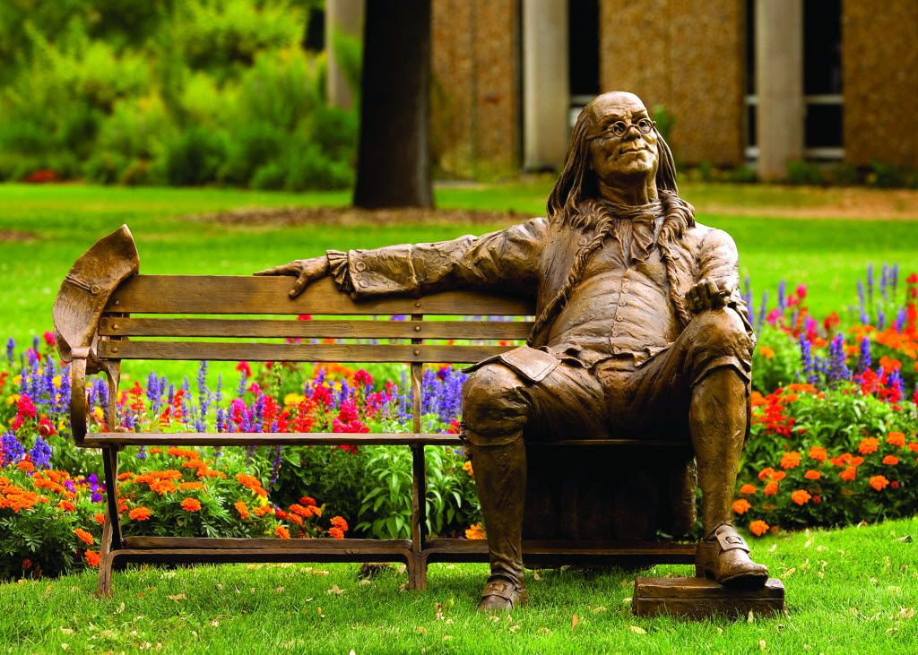 There are eight bronze life-size sculptures of nine historic men — including Benjamin Franklin — on benches situated throughout the Dallas Arboretum.