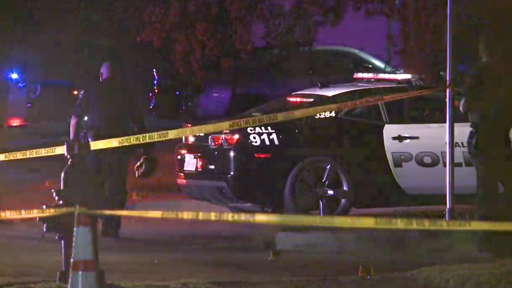 Haltom City police near the scene of a fatal stabbing in the 4900 block of Orien Street.